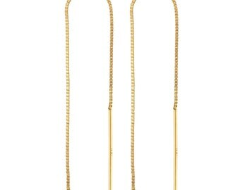 14K Solid Gold Threader Earring ( 1 Pair )