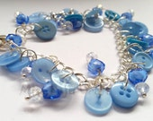 Buttons Blue Bracelet. heart beads, Crystal Beads. Jewellery. Round buttons