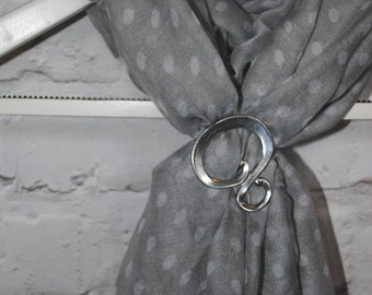 Swirl small pewter scarf ring