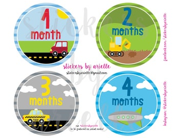 Month to Month Baby Boy Stickers - Cars / Transportation Theme