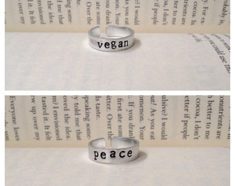Adjustable hand stamped ring