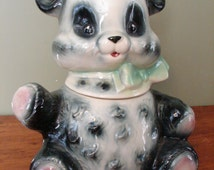Brush Panda Cookie Jar, Made in the USA by Brush Pottery, 1957, Black & Green With Cream Colour, Pink Paws, Green Bow,Marked W21 BUSH USA,