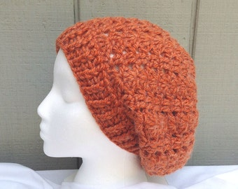 Alpaca mix crochet hat - Womens slouchy beanie - Crochet beanie - Burnt orange slouchy hat - Womens hats