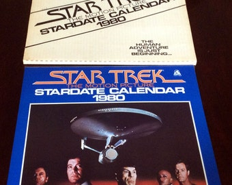 Vintage Retro 1980 Stardate Calendar Star Trek Calendar Members of The Enterprise Characters Spock Captain Kirk with Mailer Box