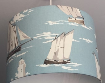 Medium Sailboat and Lighthouse Lampshade