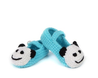 Cute Baby Shoes. Knitted Baby Shoes. New Baby Gift. cute panda shoes Baby Mary Janes Crochet sandals,daisy booties