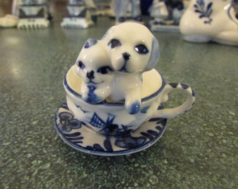 Vintage D.A.I.C Delft Blue Miniature Puppy & Kitty Inside Teacup