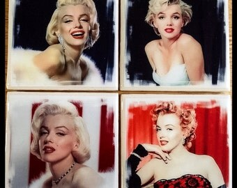 "4"" x 4"" Marilyn Monroe Ceramic Coasters (Set of 4)- Drink Coasters - Home Decor"