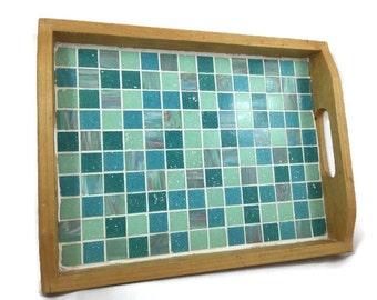 Mosaic Serving Tray in Aqua