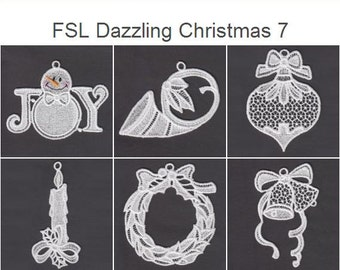 FSL Dazzling Christmas 7 Free Standing Lace Ornaments Machine Embroidery Designs Instant Download 4x4 hoop 10 designs APE2391