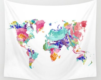 World Map Wall Tapestry / Colourful Floral Modern Map Wall Tapestry / Aldari Home