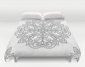 Mandala Duvet Cover - Grey and White Duvet Cover - Queen Size Duvet Cover - King Size Duvet Cover