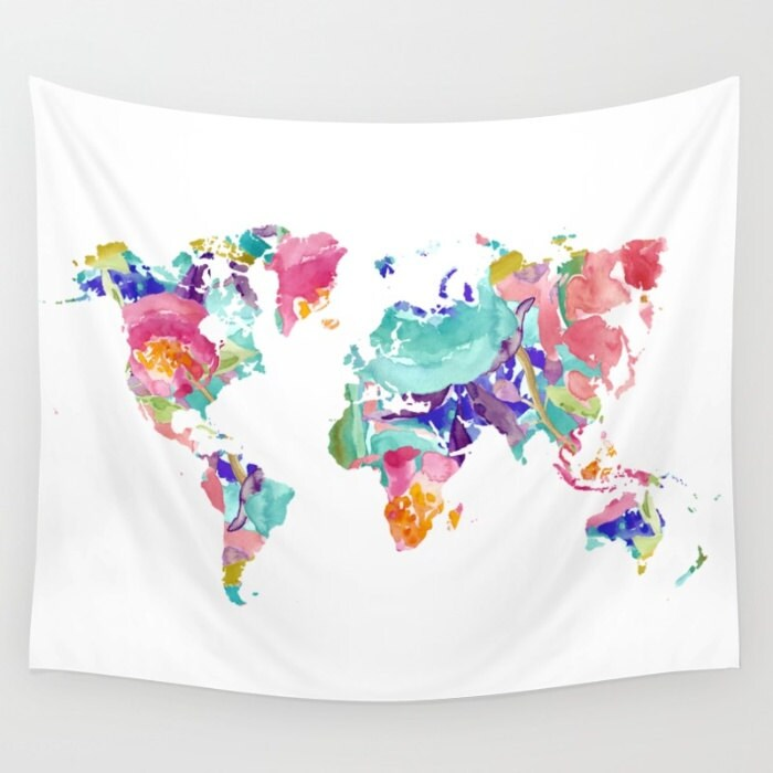 World Map Wall Tapestry Colourful Floral Modern Map Wall
