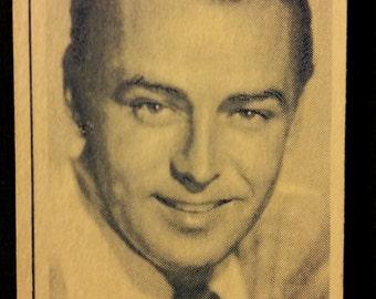 Original 1947 Alan Ladd Turf Cigarette Card, Vintage, Hollywood, Paramount, Movie, Star, Poster