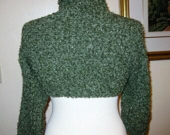 Handmade Green Boucle Shrug - Soft Acrylic Yarn - Crochet