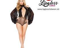 1pc Cutout Romper with Draped Sheer Sleeves - Black Romper Mesh Sleeves Lingerie - Cutout Romper Draped Mesh - Sexy Lingerie Store Sale