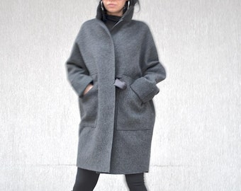 High neck collar Italian wool coat, extravagant fashion grey wool jacket, party coat, evening coat for plus size women, from XS to XL