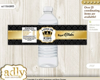 Royal King Baby Shower Water Bottle Wrappers, water Label, - it's a Royal Gold Black, Crown - oz115bGBl5