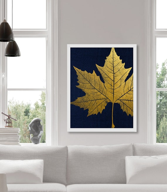 Items Similar To Gold Leaf Art Print Sycamore Leaf Faux