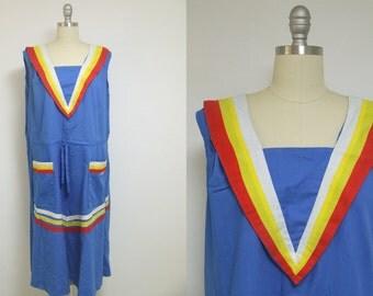 Vintage dress, mod dress, retro dress, midi dress, 60s dress, blue dress, nautical dress, sailor dress, pocket dress, swing dress, oversize