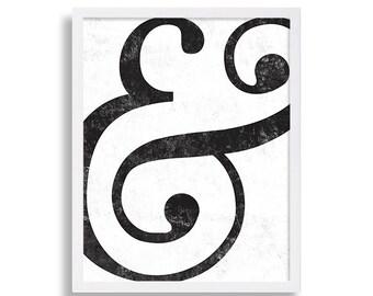 Typography Wall Art Ampersand Print Black & White Hipster Art Print Text Print Scroll Print And Symbol Print Room Decor Font Print Printable