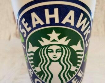 Seahawks, I <3 SEAHAWKS & COFFEE,Starbucks, Seahawks cup, Seahawks Starbucks cup, Coffee cup, Reusable Starbucks cup