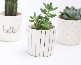 Succulent Planter // Small Plant Pot // Black and White // Stripe //Scandinavian Design
