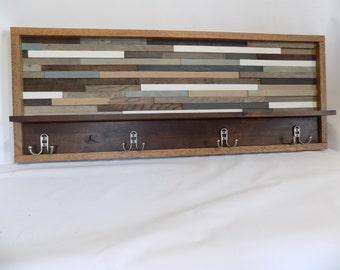Long, Hand-Made, Rustic Modern, Reclaimed Wood Coat Rack with Shelf, Wall Art