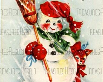 Retro Merry Christmas Snowman Reindeer Card #519 Digital Download