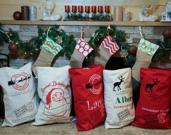 Wholesale Santa Sack or Reindeer Sack Blanks. Price for Bulk Order. Immediate Shipping. Quantity of 10, 15 or 20. ON SALE.