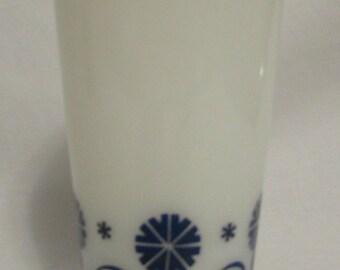 Milk Cup, Hazel Atlas, Milk Glass, Blue Flowers, 1960's