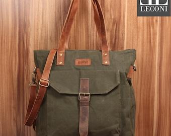 LECONI shopper shoulder bag bag shoulder bag leather of canvas green LE0045-C