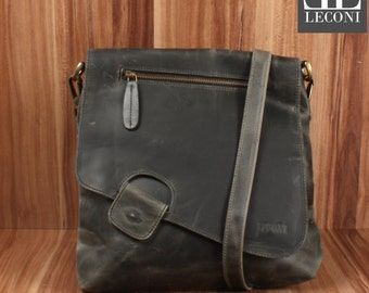 LECONI shoulder bag leather bag shoulder bag lady bag leather grey LE3027-wax