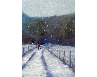Pastel painting. Snow falling on a country lane. Winter painting. original painting. landscape painting. walking the dog.