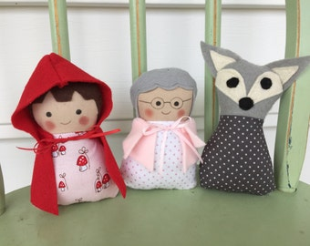 Little Red Riding Hood Set of 3 Dolls, Grandmother, Little Red Riding Hood and Mr. Wolf