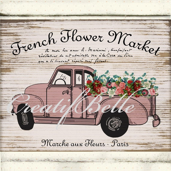 Vintage Rustic Pink Chevy Truck On Wood Background By