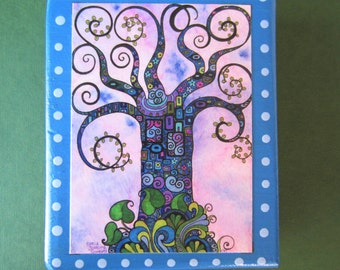 "Purple Doodle Tree - Print of an original watercolor painting on a cedar wood block (4""L x 5 1/4""H x 1 1/2"" W) - art block - home decor"