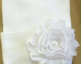 Newborn Hospital Hat! White with White Flower and Pearl! 1st Keepsake! Newborn Beanies. Great Gift! Perfect for Photos!  Great Gift