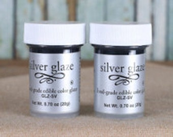 Edible Silver Paint/ Metallic Silver Edible Paint/ Edible Silver Color Glaze/ Edible Silver Paint/ Silver Fondant Paint/ Edible Food Paint