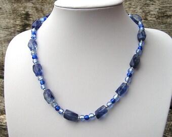 Quartz Glass Necklace, Blue Glass Necklace, Blue Bead Necklace, Something Blue, Bead Necklace Women, Glass Bead Necklace