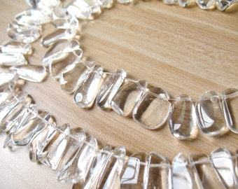 Natural Clear Quartz Slice Bead Rock Crystal Quartz Point Slices Beads Necklace Healing Crystal A164