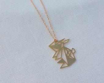 MIZYAN's geometric rabbit necklace, origami rabbit necklace, geometric accessories