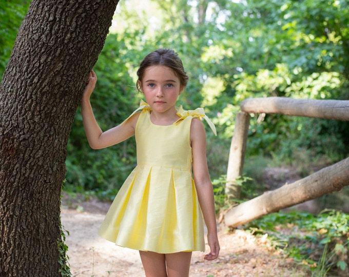 Girls dress, Colour yellow, Children dress, Kids dress,Toddler girls dress, Toddler girl outfit, Yellow toddler dress, Girls silk dress, 6T
