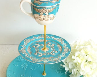 Beautiful 3 tier Cake/Cupcake Stand.Blue Turquoise,White & Gold Tiered Stand.Tea Party, Bridal /Baby Shower,Beach Wedding Centerpiece