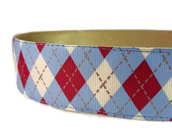 "Blue and Red Argyle Nylon Dog Collar * 1.5"" Width Only * Buckle Collar * Martingale Collar * Chain Martingale"