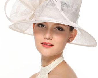 Church Kentucky Derby Carriage Tea Party Wedding Wide Brim Woman's Royal Ascot Hat in Solid Sinamay Hat White