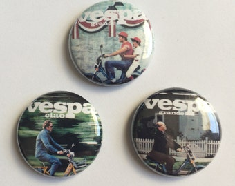 Vespa Ad Buttons - 3 Pack