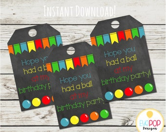 Bounce House Favor Tags - Balls - Bouncy - Instant Download - Digital Printable