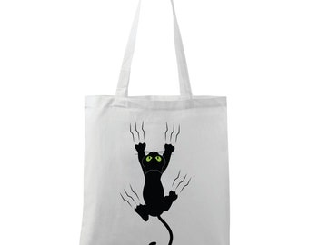 Shopping bag with print of black cat/eco bag