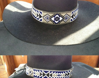 """1.5"""" wide Custom Hand Beaded Cowboy or Cowgirl Hat Band"""